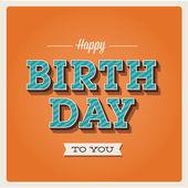 Tarjeta del feliz cumpleaños, tipo de letra — Vector de stock