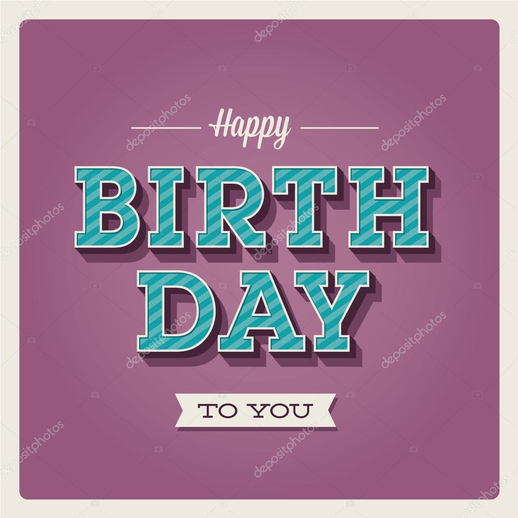 祝你生日快乐卡,字体类型 - 图库插图
