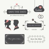 Elemento del diseño de la invitación de boda editable — Vector de stock