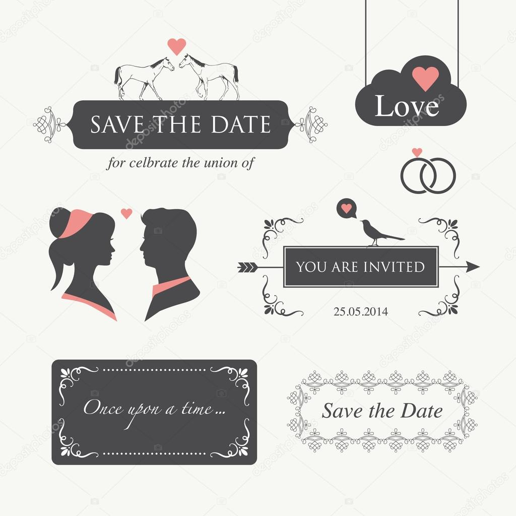 Set of wedding logo design illustration elements and ornament, editable for wedding invitation card   Stock Vector #19205997
