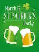 Happy St Patricks day party poster invite — Vector de stock