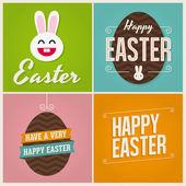 Mutlu Paskalya kartları çizim Paskalya yumurtaları ve tavşan — Stok Vektör