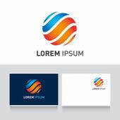 Lagoa y tarjeta plantilla editable con vector icono esfera — Vector de stock