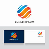 Logoa and business card template editable with icon sphere vector — Vecteur