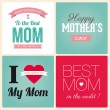 Happy mothers day card vintage retro type font - Stok Vektör