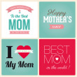 Happy mothers day card vintage retro type font — Stockvectorbeeld