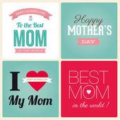 Las madres feliz dia tarjeta vintage retro tipo de letra — Vector de stock