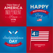 Happy independence day cards United States of America, 4 th of July, with fonts, flag, map, signs and ribbons — Image vectorielle