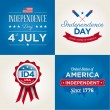 Happy independence day cards United States of America, 4 th of July, with fonts, flag, map, signs and ribbons — Vector de stock