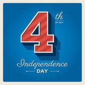 Självständighetsdagen kort sverige, 4: e juli, med teckensnitt — Stockvektor