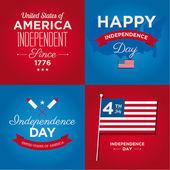 Gelukkig onafhankelijkheidsdag kaarten verenigde staten van amerika, 4 juli, met lettertypen, vlag, kaart, ondertekent en linten — Stockvector