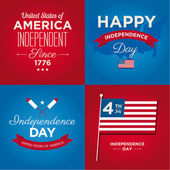 Happy independence day cards United States of America, 4 th of July, with fonts, flag, map, signs and ribbons — Vettoriale Stock