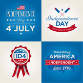 Happy independence day cards United States of America, 4 th of July, with fonts, flag, map, signs and ribbons — Stockvektor