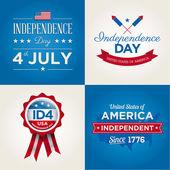 Las tarjetas de feliz día de la independencia de estados unidos de américa, 4 de julio, con fuentes, bandera, mapa, signos y cintas — Vector de stock