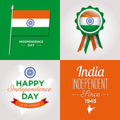Happy independence day india cards with fonts — Stock Vector