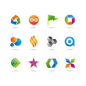 Jeu brillant logo et icônes — Vecteur