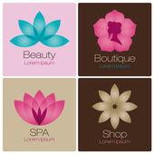 Blommor logotyp för spa och skönhetssalong — Stockvektor