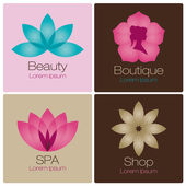 Flowers logo for spa and beauty salon — Stok Vektör