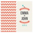 Wedding invitation card editable with backround chevron — Imagens vectoriais em stock