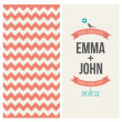 Wedding invitation card editable with backround chevron - Stock Vector