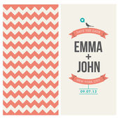 Tarjeta de invitación de boda editable con backround chevron — Vector de stock