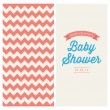 Stock Vector: Baby shower invitation card editable with vintage retro background chevron, type, font, and ribbons
