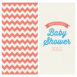 Vecteur: Baby shower invitation card editable with vintage retro background chevron, type, font, and ribbons