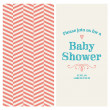 Stock Vector: Baby shower invitation card editable with vintage retro background chevron, type, font, ornaments, and heart