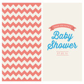 Baby shower invitation card editable with vintage retro background chevron, type, font, and ribbons — Stock Vector