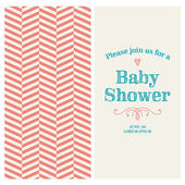 Baby shower invitation card editable with vintage retro background chevron, type, font, ornaments, and heart — Stok Vektör