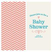 Baby sprcha pozvánky upravitelný s vinobraní retro pozadí chevron, typ, písmo, ozdoby a srdce — Stock vektor