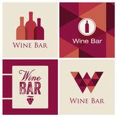 Vector de ilustración restaurante insignia de la barra de vino — Vector de stock