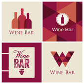 Wine bar restaurant logo illustration vector — ストックベクタ
