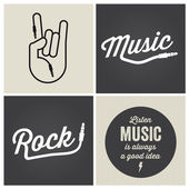 Logo music design elements with font type and illustration vector — Vettoriale Stock