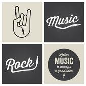 Yazı tipi ve illüstrasyon vektör logo müzik tasarım öğeleriyle — Stok Vektör