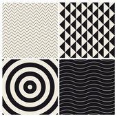 Seamless pattern background set retro vintage design vector — Stock Vector