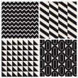 Geometric seamless pattern background set retro vintage design — Stockvectorbeeld