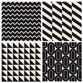 Geometric seamless pattern background set retro vintage design — Stock Vector