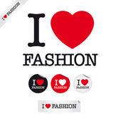 Ik hou van mode — Stockvector