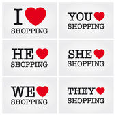 I love shopping — Vector de stock