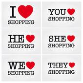 Me encanta ir de compras — Vector de stock