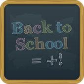 Pizarra, volver al texto escolar. — Vector de stock