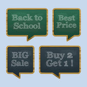 Chalkboard, back to school text. — Stock Vector