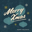 Merry christmas card retro vintage — Stock Vector