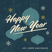 Happy new year card retro vintage — Stock Vector