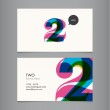 Business card template with number two — Stock Vector
