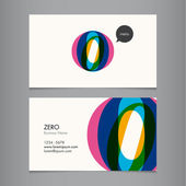 Business card template with number zero — Stock Vector
