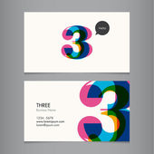 Business card template with number three — Stock Vector