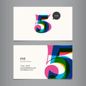 Business card template with number five — Stock Vector