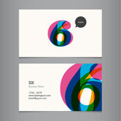 Business card template with number six — Stock Vector